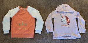 2pc Girl's Cat&Jack Faux Fur Sleeve/ BTween Hoodie Unicorn Sweatshirts, M(7/8),8