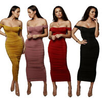 Summer Women/'s Boat Neck Solid Velvet Draped Party Casual Club Bodycon Dress