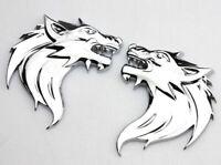 2x Wolf 3D Metall Wolfkopf Chrom Logo Sticker Emblem Aufkleber Auto Wolf Neu