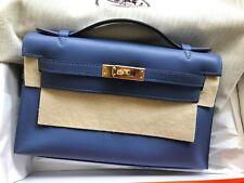 100% Authentic. Hermes Kelly Pochette, Mini Clutch, Brighton Blue