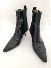 Manolo Blahnik Black Patent Pull On Pointy Toe Chelsea Boots 37