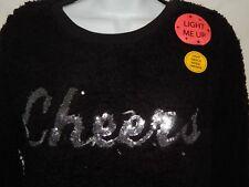 Sweater S xhilaration Light Up Flashy Black Fuzzy Christmas New Years Cheer SS60
