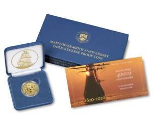 2020 W $10 REVERSE PROOF GOLD MAYFLOWER 400TH ANNIVERSARY W/ BOX/COA 1/4 OZ GOLD