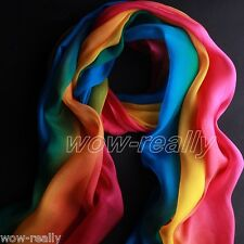 Fashion Long Rainbow color Soft Chiffon Scarf Wrap Shawl Scarves Stole