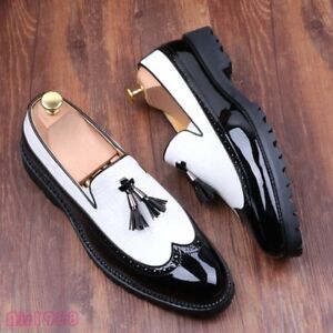 New Fashion Men Brogues Wingtip Tassels Leather Dress Shoes Splice Oxfords Shoes