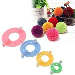 4 Size Pompom Maker Fluff Ball Weaver Knitting Needle DIY Tool Bobble Kit C Q5T9