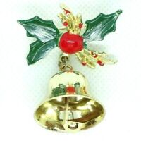 VINTAGE 1950s BROOCH LAPEL PIN CHRISTMAS HOLLY BELL RED GREEN ENAMEL GOLD TONE