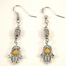 Silver Earrings Dangle Drop Hook Antique Boho Vintage Healing Hamsa Hand Yellow