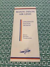 Vintage Mason-Dixon Air Lines Timetable