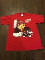 Detroit Red Wings Vintage 90's Tweety Bird Shirt Mens L EUC Rare
