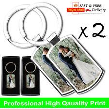 2 x Premium Personalised Photo Keyring + FREE Gift Box