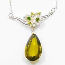 Necklace Natural Lemon Quartz 16 ct+  925 Sterling Silver Necklace