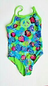Girls Radio fiji girls one piece neon/blue multicolor print swimsuit size 7
