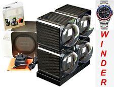 BOXY CARBON FIBRE LOOK Fancy Brick Quad Automatic Watch Winder:4FCF-4E2