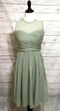 J CREW Size 4 NWT $275 Dusty Shale Green Silk Chiffon Dress Weddings