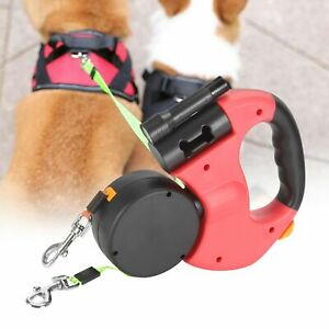 Retractable Double Dog Pet Leash Rope Dual Walk Two Dog With Light Adjustable