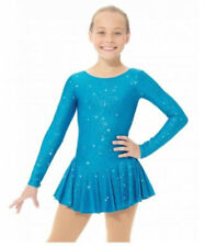 New listing Mondor Glitter Mesh Back Skate Dress •Girl 12 /14• Blue Rose Sparkle Competition