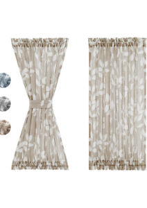 """1 Panel Leaf Print French Door Curtains Semi-Sheer 52"""" x 40"""" Taupe w/ Tie Backs"""