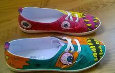 """wunderschöne handbemalte Schuhe Sneakers Motiv """"MONSTER"""" Gr. 38 - UNIKAT - NEU"""