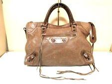 Auth BALENCIAGA Brown Editor's Bag The City 115748 Leather Handbag w/ Dust Bag