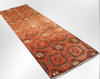 3x10 Geometric Hand Knotted Oriental Vintage Wool Traditional Runner Area Rug