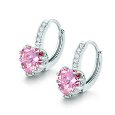 Pretty Decorated Pink Cubic Zirconia Earring Heart Hoop White Gold Filled Ladies