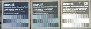 """Lot of 3 USED MAXELL  Metal Reel to Reel Tapes  All 1/4"""" With Boxes  **LOOK**"""
