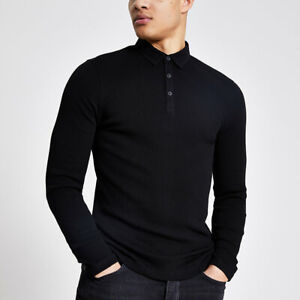 River Island Mens Black Long Sleeve Muscle Fit Ribbed Polo Shirt