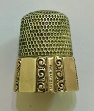 More details for antique silver and gold panelled thimble: simons bros. philadelphia: 1889. vgc