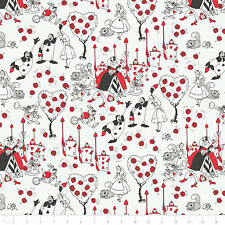 Disney Alice in Wonderland Painting Roses Red 100% cotton fabric by the yard