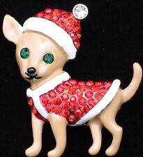 CHRISTMAS SWEATER SANTA CHIHUAHUA PUPPY DOG PIN BROOCH PENDANT JEWELRY 1.75""