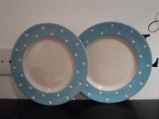 T G GREEN CORNISH BABY BLUE DOMINO PAIR DINNER PLATES CORNISHWARE MADE ENGLAND