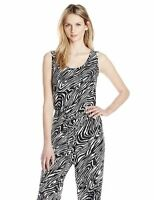 Calvin Klein Sleeveless animal print zebra jumpsuit size 2 Black & White 1005