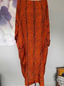 Masai Ladies Black/orange Patterned Tunic Dress Size Xl Approx 18-20