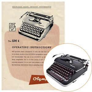 OLYMPIA SM4 TYPEWRITER INSTRUCTION MANUAL Antique Vtg User Guide Directions