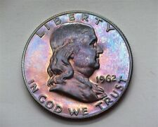 1962 FRANKLIN SILVER 50 CENTS NEAR PERFECT PROOF AMAZING COLOR!!