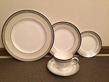 """Wedgewood Lustreware """"PACIFIC STRIPE"""" ~5 Piece Place Setting~ Plates, Cup/Saucer"""