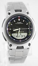 Casio Black Databank World Time 10 Year Battery Steel Band Watch AW-80D-1AV
