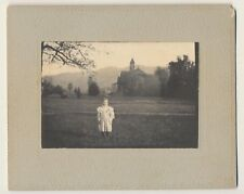 c1890 Antique Vtg Cute Little Girl in Dress Stunning Backdrop Cabinet Card Photo