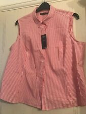 Red & white Stripe Blouse shirt size 20 cap sleeves summer cool new top