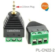 2-Pack 2.5mm TRS Male Jack to AV 3-Screw Terminal Block Balun Connector