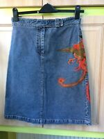 DKNY skirt jeans blue cotton beautiful decorating 10 size excellent condition