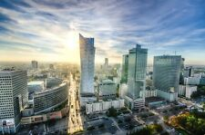 WARSAW POLAND CITYSCAPE SKYLINE POSTER PRINT STYLE D 24x36 HI RES