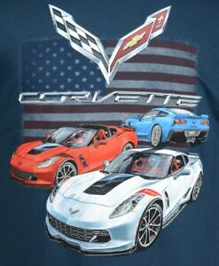 2014 - 2018 Chevy C7 Corvette Sting Ray T-shirt - Blue 100% Cotton Preshrunk