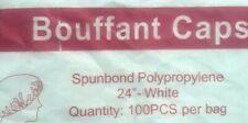 "100 Pcs Disposable Hair Net White Bouffant Caps 24""  Head Cover Trboxtapes"