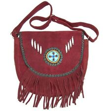 Real Handmade  Western Style Suede Leather Beaded Ladies Shoulder Bag Fringed