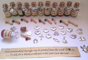 Personalised message in a bottle. Wedding favours, unusual unique gift. Free bag