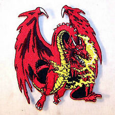 6 RED DRAGON EMBROIDERED PATCH sew or iron biker P-363 DRAGONS PATCHES FANTASY