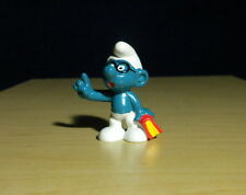 Smurfs Bookworm Brainy Smurf Glasses Figure 1983 Vintage Toy PVC Figurine 20094