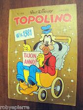 vendo giornalinoTOPOLINO WALT DISNEY 1309 w il 1981 buon anno lire 500 fumetto